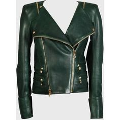 Balmain Dark Green Wide Shouldered Jacket With Gold Zips ❤ liked on Polyvore