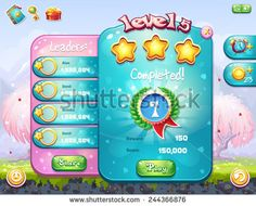 Example of the game window with the completion level for computer games on the theme of Valentine's Day