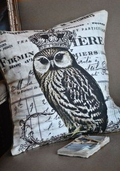 Owl pillow cover... the Olivia cotton and Burlap Pillows