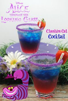 Serving size is 1 glass 1 of Cherry Vodka of Blue Curacao of Strawberry Vodka oz Grenadine 2 oz Sprite Purple sanding sugar Lemon Cheshire Cat cocktail {wine glass writer} Disney Cocktails, Cocktail Disney, Disney Mixed Drinks, Disney Themed Drinks, Bar Drinks, Non Alcoholic Drinks, Cocktail Drinks, Cocktail Recipes, Vodka Cocktails