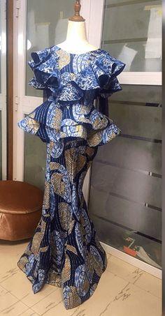 Check out 40 latest peplum skirt and blouse styles - Stylish Naija African Wear Dresses, Latest African Fashion Dresses, African Inspired Fashion, African Print Fashion, Africa Fashion, African Attire, Lace Dress Styles, Blouse Styles, Traditional Outfits