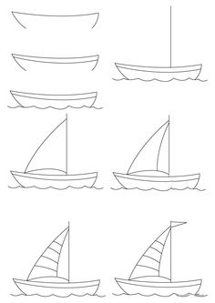 How to draw a boat step-by-step: 12 great ways - HOW-TO-DRAW in 1 minute Art Drawings For Kids, Doodle Drawings, Drawing For Kids, Easy Drawings, Doodle Art, Art For Kids, Kids Drawing Lessons, Boat Drawing Simple, Simple Boat