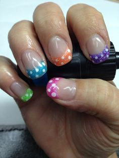 My fun summer nails!! Pigment powder & glitter added to non-toxic odorless gel accented with polka dots. So funky!