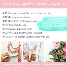 An Instagram challenge to help bloggers & small biz owners connect and create content that brings a more cohesive & thoughtful approach to social media!