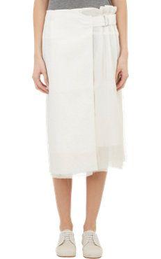 Pleat Linen & Organza Skirt