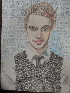 Brendon Urie drawn with Nearly Witches lyrics!!! It's beautiful