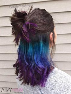 20+ Blue and Pastel Blue Ombré Ideas for Hair Extensions Hair Color Purple, Blonde Color, Purple Ombre, Ombre Color, Brunette Color, Crazy Color Hair Dye, Exotic Hair Color, Peekaboo Hair Colors, Purple Style