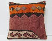 large decorative pillow 18x18 pillow cover red kilim cushion cover aztec pillow case red throw pillow turkish orange kilim pillow sham 18290