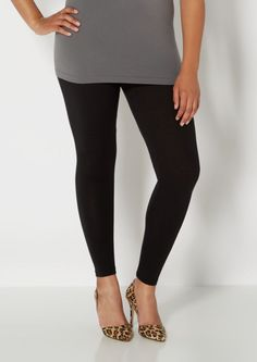 image of Plus Black Essential Knit Legging