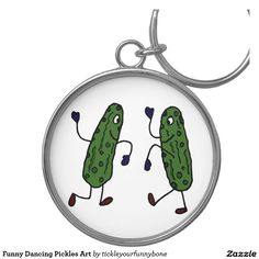 Funny Dancing Pickles Art Key Chains