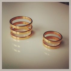 Gold-platted silver rings by Melio Less Is More, Handmade Jewelry, Silver Rings, Jewelry Making, Wedding Rings, Engagement Rings, Metal, Enagement Rings, Handmade Jewellery