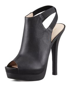 Crissy Slingback Leather Platform Bootie, Black by Pelle Moda at Neiman Marcus. Hot Shoes, Crazy Shoes, Me Too Shoes, Shoes Heels, Dream Shoes, Pretty Shoes, Beautiful Shoes, Bootie Boots, Shoe Boots