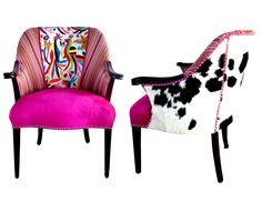 Vintage Otomi Wood arm Chair Hand embroidered by Otomi indigenous women. Multicolor. Pink Velvet. Cowhide hair on hide. Silver Nailhead Trim by ArteOtomi on Etsy https://www.etsy.com/listing/268297865/vintage-otomi-wood-arm-chair-hand