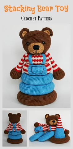 Stacking Bear Toy Crochet Pattern #crochetpattern