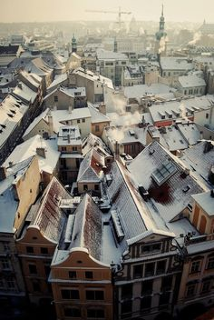 "Prague by Erik Witsoe  ""From the clock tower in the Stary Miasto. Make sure to climb to the top when you visit...so worth it! Very cold, December morning. I hardly noticed how cold once I had this view to keep me warm!"""
