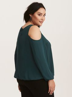 33a43f99e20 Plus Size Strappy Front Georgette Cold Shoulder Top, EMERALD Dressy Tops,  Torrid, Plus