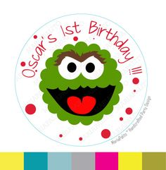 New to Mariapalito on Etsy: Oscar stickers Oscar the grouch  Party Personalized Inspired PRINTED round Stickers tags Labels or Envelope Seals  A937 (5.50 USD)