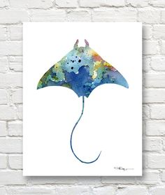 Stingray Art Print  Abstract Watercolor Painting  by 1GalleryAbove