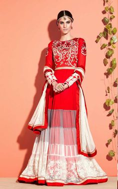 RED & OFF WHITE NET ANARKALI SALWAR KAMEEZ - SLF 9654