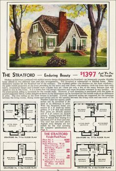 The Stratford Kit House Floor Plan made by the Aladdin Company in Bay City Michigan in 1931 Vintage