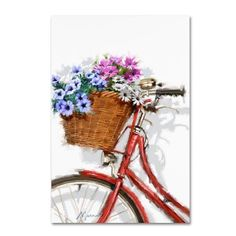 Trademark Fine Art 'Bicycle With Basket' Canvas Art by The Macneil Studio, Size: 22 x Red