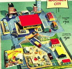 Matchbox Carry Case Car City  Manufacturer: Matchbox  Price: $7.44  Description Matchbox Carry Case Car City including 12 set of car and truck set featuring roads, buildings, streets and scenery where you could move your matchbox cars around.