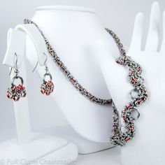chainmaille  jewelry   Orange Chainmaille Jewelry Set - Necklace, Bracelet, & Earrings