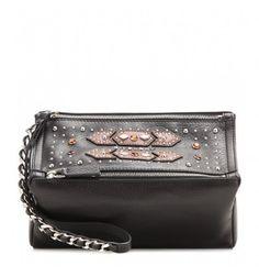 Schwarze, verzierte Lederpouch By Givenchy