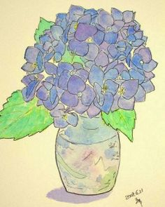 hydrangea,,how to flowers,skeching outline,painting watercolor,pen