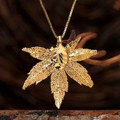 House of Rhya 24k Gold Maple Leaf Pendant | Shop.Auctions.MarketAmerica.com