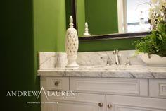 Beautiful White Granite Countertop And Backsplash Make The Brilliant Green Walls Really Pop