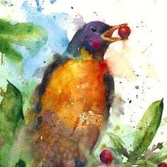Robin - original watercolor painting by Dean Crouser