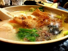 My lovely lunch of mixed fish soup with rice vermicelli