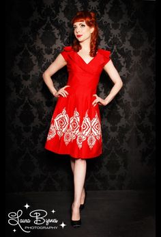 Addison Dress in Red with White Border Print