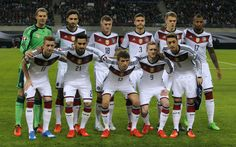 Germany players pose for team photo prior to Euro 2016 qualification soccer match against Georgia in Leipzig