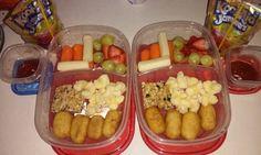 Bento Lunch box idea 10-15-15 Mini corn dogs Puff corn Granola bar String cheese Grapes & strawberries Carrot sticks