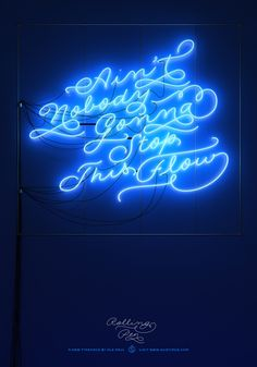 "sudtipos: "" Rolling Pen typeface Design by Ale Paul Copy: Jon Parker art: Seba Mozuc "" Typography Quotes, Typography Design, Neon Light Art, Script, Nostalgia, Neon Words, Neon Glow, Blue Aesthetic, Neon Lighting"