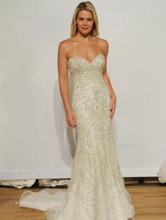 Eddy K high strapless sweetheart beaded wedding dress from Fall 2015