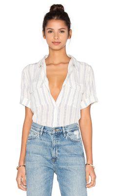 Short Sleeve Slim Signature Stripe Blouse