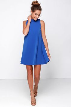 There wont be a cloud in sight whenever you step out in the JOA Skies Above Blue Swing Dress with a cute sleeveless design and wide-cut swing style bodice. Junior Party Dresses, Cute Dresses For Party, Homecoming Dresses, Cute Blue Dresses, Casual Summer Dresses, Girls Dresses, Women's Dresses, Dresses Online, Swing Dress
