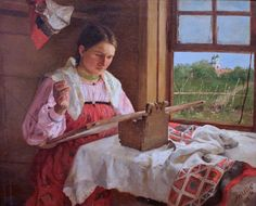 Peasant Girl with Embroidery by Philipp Malyavin (1869-1940)