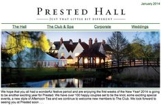 via Prested Hall  Hall This year at Prested we have lots of exciting events, delicious Sunday Lunches, excellent Spa offers and much more for you to enjoy. Find out more in this months newsletter, read it here -----> http://ymlp.com/zEpwV4 www.prested.co.uk https://www.facebook.com/prested.hall http://www.pinterest.com/prestedhall/