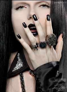 Close-up look at nails and ring ideas for Halloween Gothic-Antichrist-Vampire look