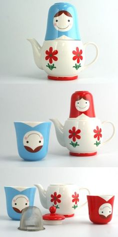"Matryoshka ""Tea for Two"" 3pc tea set by Globally Cute #kawaii #matryoshka #teapot"