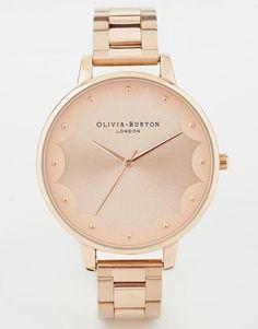 Olivia Burton | Olivia Burton Scalloped Edge Rose Gold Bracelet Watch at ASOS