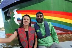 Launch of the New Rainbow Warrior  Melina Laboucan-Massimo (Godmother of the ship) (Left) and Kumi Naidoo (Executive Director of Greenpeace International) in front of the new Rainbow Warrior shortly before the official launch.  10/14/2011