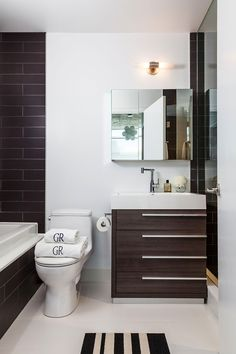 Apartment, White And Brown Interior Design Bathroom With Vanity Units And Glass Cabinet Mirrors In Small Apartment: Stylish Modern Small Apa...