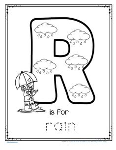 FREE R is for rain alphabet trace and color printable #alphabet #preschoolactivities #prekactivities