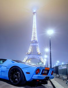 Ford GT Heritage with a stunning Eiffel Tower backdrop. Love Paris...Incredible, and soo is the Eiffel Tower! - lol...