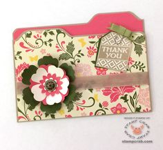 March 2015 - Thank You Card - File Folder Card created by Stamp Crab with Stampin' Up!'s ENVELOPE PUNCH BOARD (133774), All Abloom DSP Stack (133703), Tea Party Stamp Set (Clear 129138, Wood 129135), Crumb Cake Ink (126975), Crumb Cake Seam Binding (122332), Antique Brads (117273), Old Olive Simply Styled Embellishments (Retired). PUNCHES: Blossom (125603), Pansy (130698), Boho Blossoms (119858). CARDSTOCK: Strawberry Slush (131295), Mossy Meadow (133676), Very Vanilla (101650).